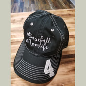 #Baseball Mom Life Distressed Cap